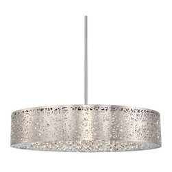 George Kovacs - George Kovacs | Hidden Gems LED Large Pendant Light - By George Kovacs.The Hidden Gems LED Large Pendant Light is a stunning fixture that combines laser-cut metal and crystal necklace droplets for a gorgeous layered effect. The contrast of the precisely cut, detailed, chrome metal with the delicate crystal makes for a beautiful juxtaposition. Made with eco friendly LED lights, the rich illumination shines through the metal layers and is both diffused and reflected by the crystal creating a decorative look that provides a unique ambiance. Comes with circular canopy and an adjustable stem.