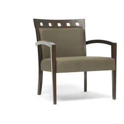 Wholesale Interiors - Carmela Green and Brown Modern Accent Chair - Keep it cool and casual with the Carmela Contemporary Chair. This sturdy and solid rubberwood designer club chair features a brown frame with olive drab green polyester fabric seat. Foam padding cushions this Malaysian-made designer chair for your comfort. The Carmela Modern Arm Chair requires assembly and should be spot cleaned.