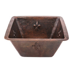 "Premier Copper Products - 15"" Square Fleur De Lis Sink W/ 3.5"" Drain - What symbolizes elegance more than the prestigious fleur de lis? Perhaps a fleur de lis on a hammered square copper sink? This large basin sink is such a thing of beauty, it's hard to imagine a dirty dish ever crossing the threshold into the coppery depths. That's ok, nobody will judge you if you start doing the dishes out back with the hose and leaving the sink in its pristine glory."
