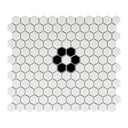 None - SomerTile 10.25 x 11.75-inch Victorian Hex 1-inch Matte White with Flower Porcel - Reminiscent of Victorian-era tile mosaics,this Somertile tile set features a smooth matte finish for a clean,stylish look. The tiles are perfect for any setting whether modern construction or a historical renovation.