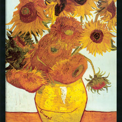 Amanti Art - Sunflowers on Blue, 1888 Framed with Gel Coated Finish by Vincent Van Gogh - In a letter to his brother Theo, back in 1889, Van Gogh spoke of sunflowers as the still life subject he would make his own. His devotion paid off as sunflowers became as identified with Van Gogh's name as water lilies with Monet.