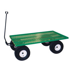 Fifthroom - John Deere Green Steel Bed Wagon - Our shiny, new Steel Bed Wagon is full of old-fashioned fun.  Its winning combination of traditional style and modern steel construction make it strong, attractive, and durable. Available in two sizes, this wagon can safely hold up to 1,000 pounds, without bending or breaking.