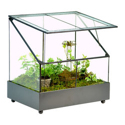 H Potter - Terrarium - Fairy Garden Display Case - Create a magical, miniature world full of spirit and fancy. Fill the plastic liner with soil and plants, and then let your imagination grow. It's made of dark gray metal and thick glass, and features a slanted and hinged roof panel for venting and tending.