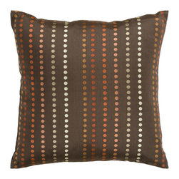Surya Rugs - Espresso Dots 18 x 18 Pillow - With small circles in a striped pattern, this pillow makes a subtle statement. Colors of chocolate, brown, rust, and yellow accent this decorative pillow. This pillow contains a poly fill and a zipper closure. Add this pillow to your collection today.  - Includes one poly-fiber filled insert and one pillow cover.   - Pillow cover material: 100% Polyester Surya Rugs - HH081-1818P