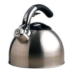 Epoca - Primula Soft Grip Kettle 3 Qt - Primula Soft Grip Brushed Stainless Steel 3-Quart Tea Kettle holds a generous 3 quarts of water- enough to make 12 cups of tea from one pot. Each Soft Grip Whistling Tea Kettle is constructed of brushed stainless steel with an encapsulated bottom. Stainless steel heats up quickly and helps guard against rust. Primula's specially designed phenolic soft grip handle provides a firm stay-cool grip. Another special feature is the flip up spout which allows for safe handling and even pouring. Even the lid was carefully constructed  with a heat-resistant looped handle for easy removal to sit atop a wide opening for easy fill and cleaning. A soft pleasant whistle is emitted when water reaches a boil.  This item cannot be shipped to APO/FPO addresses. Please accept our apologies.