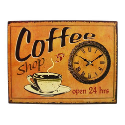 Coffee Shop Open 24 Hours 13 X 9 Sign / Wall Clock - Made of fiberboard, this gorgeous 13 inch by 9 inch battery powered wall clock features a retro coffee shop motif on the face. The clock has a distressed look, with wear marks and printed rust as part of the design. It runs on one AA battery (not included). This wall clock is BRAND NEW, never hung, and makes a great gift for coffee lovers.
