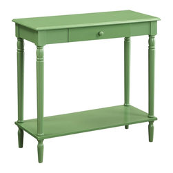 Convenience Concepts - Convenience Concepts Accent Table X-NG8813506 - The elegance of French Country is now available in rich accent colors. In a traditional design with a modern glossy green finish. The French Country Hall Table features a drawer and bottom shelf for additional storage that will be sure to create a buzz.
