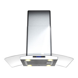 None - AKDY 30-inch Stainless Steel Curved Glass Island Mount Range Hood - This centerpiece includes an ultra quiet 870 CFM centrifugal blower,telescopic chimney that fits ceilings measuring between 8 and 9 feet,and four-speed electronic touch sensitive controls with display.