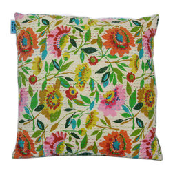 Kim Parker Inc. - Anil's Garden Kantha Pillow - You'll be peaceful as a reclining Buddha with this pillow sham. An enchanted garden of brightly colored flowers bloom across 100 percent cotton from India. And it features Kantha-style embroidery in a running stripe to enlighten your space and mood.