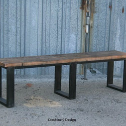 Vintage Industrial/ Mid Century Modern Bench. Seat. Seating. Urban. Loft Decor. -