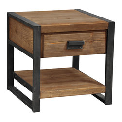 Kosas Collections - Carly Distressed Finish 1-drawer End Table - Add sophistication to your home's decor with the Carly end table,featuring a distressed natural wood finish. This accent piece also offers an iron frame design,a lower shelf and a single drawer.