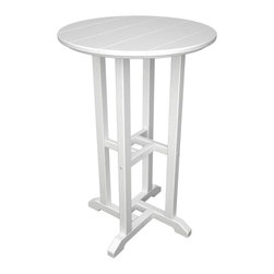 POLYWOOD - POLYWOOD Traditional 24 in. Round Counter Height Table - RRT124BL - Shop for Tables from Hayneedle.com! Stand tall for outdoor gatherings and patio cocktail hours with the Polywood Traditional 24 in. Round Counter Height Table. Crafted with easy-to-clean eco-friendly recycled plastic that won't rot or fade this counter-height round table has a paneled top and is available in black green mahogany sand teak and white. About Poly-WoodThe advantages of Poly-Wood Recycled Plastic are hard to ignore. Poly-Wood absorbs no moisture and will NOT rot warp crack splinter or support bacterial growth. Poly-Wood is also compounded with permanent UV-stabilized colors which eliminates the need for painting staining waterproofing stripping and resurfacing. This material is impervious to many substances including salt water gasoline paint stains and mineral spirits. In addition every Poly-Wood product comes with stainless steel hardware. Poly-Wood is extremely easy to clean and maintain. Simple soap and water is all you need to get rid of dirt and make your furniture look new again. For extreme cleaning needs you can use a 1/3 bleach and water solution. Most Poly-Wood furnishings are available in a variety of classic colors which allow you to choose your favorite or coordinate with the furniture you already have. This is sure to be a piece that you will be proud to own for a lifetime.