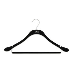 Clos-ette Too - Signature Slim Coat Hanger w/ Bar, Black w/ Chrome - The Signature Slim Coat Hanger With Bar is ideal for mens and womens suits. It maintains the shape of your garments shoulders without taking up space, and features a round, flocked bar for creaseless hanging. As with all our hangers, the Signature Slim Coat Hanger With Bar is flocked in a velvety non-slip material, ensuring your garment stay put. And because we use the highest quality composites and fabric, our clothing hangers never snap, unlike other brands on the market. We guarantee youll find our hangers to be longer lasting and better for your clothes than the competition. Skinny, 1/5 profile saves space. Rounded shoulders specifically designed to maintain garment shape. Rounded bars for creaseless hanging. 18 width and super-durable composition stands up to heavy and broad-shouldered garments as well as any wooden hanger. Shorter vertical drops maximize vertical space in your closet.