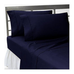 SCALA - 600TC 100% Egyptian Cotton Solid Navy Blue Queen Size Sheet Set - Redefine your everyday elegance with these luxuriously super soft Sheet Set . This is 100% Egyptian Cotton Superior quality Sheet Set that are truly worthy of a classy and elegant look. Queen  Size Sheet Set includes: 1 Fitted Sheet 60 Inch(length) X 80 Inch(width) (Top surface measurement).1 Flat Sheet 90 Inch(length) X 102 Inch (width).2 Pillowcase 20 Inch (length) X 30 Inch (width).