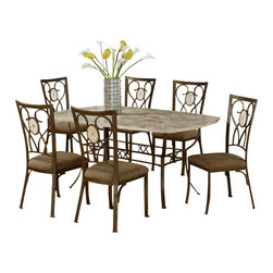 Hillsdale Furniture - Hillsdale Brookside 7-Piece Rectangle Dining Room Set with Oval Back Chairs - Our Brookside dining collection features the lustrous depth and beauty of fossil stone and the classic effect of transitional designs. A thick patterned ivory colored fossil stone veneer graces the sturdy powder coated metal bases on the dining table, bistro table and buffet. The chairs and stools are available in two styles, a more traditionally scrolled design which boasts an oval fossil stone motif and a more gracefully scrolled metal work, or a more transitional diamond fossil stone motif with a more angular, contemporary design. Both styles have a micro suede seat fabric for easy care and long lasting beauty.