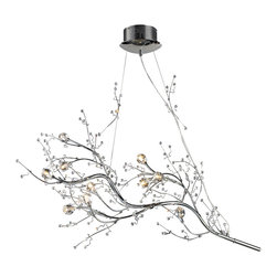 Elk Lighting - ELK Lighting  Viviana 10-Light Chandelier - The Viviana Collection Is A Modern Interpretation Of Nature With Branches Of Polished Chrome And Clear Glass Buds At Their Tips. Each Fixture Is Lit By Low Voltage Halogen Bulbs Nested Inside Of Clear Crystal Florets.