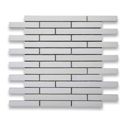 "Stone Center Corp - Thassos White Marble Stacked Mosaic Tile 3/4x4 Honed and Polished Mix - Thassos white marble 3/4x4"" pieces stacked mounted on 12"" x 12"" sturdy mesh tile sheet"