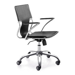 "Zuo Modern - Height Adjustable Traffico Leatherette Office - The Chrome Office Chairs in Black offer an unbeatable value when furnishing or upgrading a contemporary office.  Each chair features convenient height adjustment, a washable Black PVC seat & back, and a beautifully polished chromed steel frame and rolling base.  This stylish Chrome Plated Office Chairs with Black PVC Seats will add a note of refinement to any upscale office setting!  Each chair features a polished chrome plated steel frame & rolling base, and provides convenient height adjustment. * Adjustable Height. Chrome Plated Steel Frame, Base, and Arms. Washable PVC Leatherette Seat and Back. PU Rolling Casters . Does not tilt. 34-39"" H x 22"" W x 25"" L. Seat: 17-20"" H"