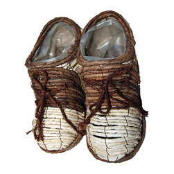 "Master Garden Products - Pair of Shoes Planter, 10""L x 4""W x 6""H - Add fun and character to your home and garden with these adorable shoe planters that are made from sustainable natural banana leaves and maize rope. Can be used as a planter or as decor in your home."