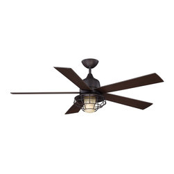 "Savoy House - 52"" Hyannis Damp Location Ceiling Fan - 52"" Hyannis Outdoor Fan in the English Bronze finish with Cream Indian Scavo Glass and Chetnut blades."