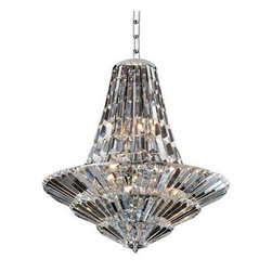 Allegri By Kalco Lighting - Auletta 18  Light Chandelier - The Auletta Collection was inspired by the fixtures found in the foyers of Art Deco Theaters. These geometric shapes are created by layering and draping Prism shaped crystals from a frame finished in Allegri's exclusive Chrome. These elements come together to create pieces that are sleek and dramatic.