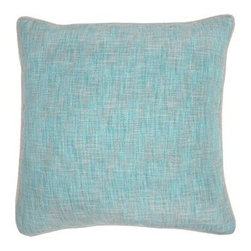 Silver Nest - Somber Aqua Down Pillow- 22x22 - 100% Poly, Woven. Set of two pillow covers with hidden zippers. Feather inserts included. Inserts are 95/5. Priced individually, must be sold as set of 2.