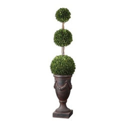 Uttermost 60093 Preserved Boxwood Triple Topiary - About UttermostThe mission of the Uttermost Company is simple: to make great home accessories at reasonable prices. This has been their objective since founding their family-owned business over 30 years ago. Uttermost manufactures mirrors art metal wall art lamps accessories clocks and lighting fixtures in its Rocky Mount Virginia factories. They provide quality furnishings throughout the world from their state-of-the-art distribution center located on the West Coast of the United States.