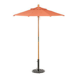 Oxford Garden - Sunbrella Market Umbrella 6' - Dupione Papaya - The finishing touch for your outdoor grouping, our sturdy umbrellas are both practical and stylish. Eight solid hardwood ribs attached to a solid hardwood two-piece interlocking pole with a composite hub. Every umbrella is vented for comfort and stability. Available in a 100% solution dyed acrylic from Sunbrella and chosen to coordinate with the expanded Oxford Garden cushion offering.
