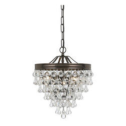 Crystorama - Calypso Chandelier, Small - Delicate yet dramatic, this chandelier is the perfect ceiling centerpiece for your smaller formal setting. A cascade of clear glass orbs pours from a silver-finished frame to dazzling effect.