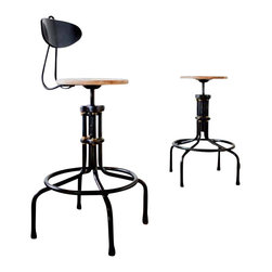 Nuevo Living - V19C-B Counter Stool with Backrest, Weathered Oak, Set of 2 - If you're a fan of industrial chic, this sculptural stool belongs in your favorite eclectic setting. But don't bring it home for its quirky-cool good looks alone — it's incredibly comfortable, too, thanks to the so-supportive backrest and footrest.  And if you want you can take the back off!