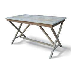 Four Hands - Palma Desk - Capture the romance and simplicity of the French countryside. Made of reclaimed elm, this trestle-style desk has a whitewashed top and, with pull-out shelves on each end, you'll have a clutter-free workspace.