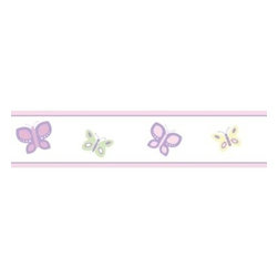 Sweet Jojo Designs - Sweet Jojo Designs Butterfly Wall Paper Border in Pink/Purple - The Butterfly Wall Paper Border from Sweet Jojo Designs adds a splash and a dash of color to your child's room in a pinch. This prepasted roll of wall border will let your kid add creativity to his or her room.