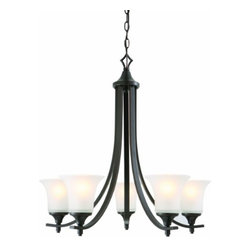 DHI-Corp - Juneau 5-Light Energy Star Chandelier, Oil Rubbed Bronze - The Design House 515791 Juneau 5-Light Energy Star Chandelier is made of formed steel, frosted glass and finished in oil rubbed bronze to provide a soft, warm glow. Energy Star qualified, this 5-light chandelier is rated for 120-volts and uses (5) 13-watt GU24 compact fluorescent lamps. This fixture's flowing arms create a clean, contemporary profile that matches traditional or modern furnishings. This chandelier's sprawling arms meet (5) upward facing lamps gently diffusing light from above. Measuring 26.75-inches (H) by 26-inches (W), this 12.24-pound pendant comes with a 48-inch chain that converts this ceiling mounted light to an elegant chandelier. Energy Star products meet strict energy efficiency guidelines set by the U.S. Environmental Protection Agency and the U.S. Department of Energy to maintain a greener home. This product is UL and CUL listed and adheres to industry standards for safety and quality assurance. The Juneau collection features a beautiful matching island pendant, vanity light, wall sconce, wall mount and mini pendant. The Design House 515791 Juneau 5-Light Energy Star Chandelier comes with a 2-year limited warranty that protects against defects in materials and workmanship. Design House offers products in multiple home decor categories including lighting, ceiling fans, hardware and plumbing products. With years of hands-on experience, Design House understands every aspect of the home decor industry, and devotes itself to providing quality products across the home decor spectrum. Providing value to their customers, Design House uses industry leading merchandising solutions and innovative programs. Design House is committed to providing high quality products for your home improvement projects.
