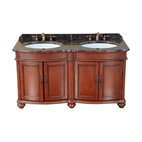 "Bosconi - 59"" Bosconi T-3737 Double Vanity - Looking for a his-and-hers vanity with old-fashioned charm? Your search is over. This ornate double vanity has an antique red finish, dark marble countertops and backsplash, antique brass hardware and two roomy under-sink cabinets."