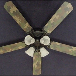Ceiling Fan Designers Camouflage Indoor Ceiling Fan - Green - You know your little dude is going to love his Ceiling Fan Designers Camouflage Indoor Ceiling Fan - Green. This ceiling fan and light kit combo will light up and cool down his room in manly style. It comes in your choice of size: 42-inch with 4 blades or 52-inch with 5. The blades are reversible so even though he may never want to change it, you get the camo design on one side and classic white on the other. It has a powerful yet quiet 120-volt, 3-speed motor with easy switch for year-round comfort. The 42-inch fan includes a schoolhouse-style white glass shade and requires one 60-watt candelabra bulb (not included). The 52-inch fan has three alabaster glass shades and requires three 60-watt candelabra bulbs (included). Your ceiling fan includes a 15- to 30-year manufacturer's warranty (based on size). Also great in the man cave.