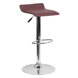 Flash Furniture - Flash Furniture Contemporary Burgundy Vinyl Adjustable Height Bar Stool - This sleek dual purpose stool easily adjusts from counter to bar height. The backless design is casual and contemporary which allow it to seamlessly accent any area in the home. The easy to clean vinyl upholstery is perfect when being used on a regular basis. The height adjustable Swivel seat adjusts from counter to bar height with the handle located below the seat. The chrome footrest supports your feet while also providing a contemporary chic design. [DS-801-CONT-BURG-GG]