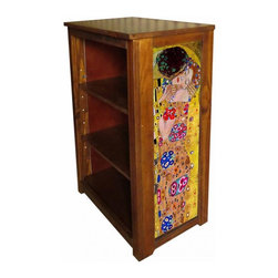 Kelseys Collection - Book cabinet 3 shelf The Kiss - Book cabinet in solid radiata pine features three adjustable  storage shelves with two giclee prints on the side panels, showcasing Gustav Klimts artwork. The giclee print have three coats of UV inhibitor.Dimensions are 33BY22BY12 Net weight 20 pounds. Three adjustable shelves. Estimated assembly time 20 minutes.