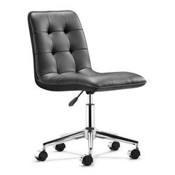 Zuo Modern - Zuo Scout Office Chair in Black - Office Chair in Black belongs to Scout Collection by Zuo Modern The Scout office chair has a sleek and comfy shape wrapped in a soft tufted leatherette with an adjustable life and rolling base. Office Chair (1)