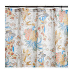 Sin in Linen - Geisha Garden Shower Curtain - This beautiful tattoo print features images of coi fish, peacocks and geishas in a utopian garden of cherry blossoms.