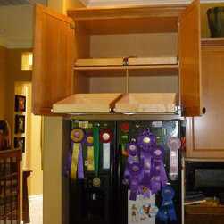 ShelfGenie Over the Fridge/Oven Solutions - Create accessible storage above your stove or refrigerator with custom pull out shelves from ShelfGenie.