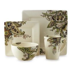 Tabletops Unlimited, Inc. - Tabletops Unlimited Misto Angela Square Dinnerware 4-Piece Place Setting - This ceramic dinnerware combines paisley and floral themes to add a rich, vibrant accent to each piece. The pattern is ideal for casual or formal dining.