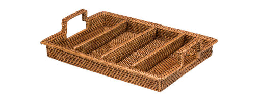 Kouboo - Rattan Silverware Organizer & Tray, Honey-Brown - Hand-woven from rattan in Hapao style, this honey brown flatware tray features four compartments for organizing flatware or other dinner party essentials. Hapao refers to the technique of alternating the color from a light natural to dark mocha when weaving the rattan peel over the rattan vine. The vine is the tubular core of the weave while the split is wrapped around it. This rattan caddy is finished with a coating of clear lacquer and cleans easily with a damp cloth.