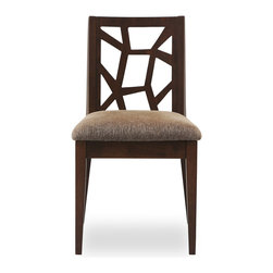 Bryght - 2 x Jenifer Dining Chair - Take a seat on the Jenifer dining chair. Made of Eco-friendly hardwood in a warm cocoa stain, the Jenifer dining chair represents versatility with an avant-garde flair. Its modern and abstract asymmetrical patterned back and padded seating is sure to provide comfort with a touch of oomph!