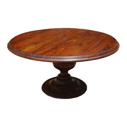 """Sierra Living Concepts - Rustic 60"""" Round Wood Dining Table with Pedestal Base - Our Rustic 60"""" Round Wood Dining Table with Pedestal Base is expertly hand crafted. Each table is individually made featuring hand carved detailing along the edges of the table top and pedestal. Up to six adults can comfortably gather around this elegant pedestal table. The wooden base features intricate wood carved details along the hour glass shaped stem and base. Our high quality finish brings out the dramatic wood grain patterns on both the table top and base. The eco-friendly stain is individually mixed and applied by hand. Then we also use a special waxing and seasoning treatment to produce a beautiful and long lasting finish."""