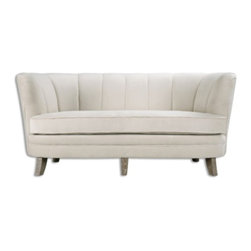 "Uttermost - Uttermost - Teraj Sofa In White - 23200 - Medium rise, deep channel back forms a graceful curve with a slightly splayed pitch for relaxed comfort. Densely plush, buff white velvet with whitewashed oak legs. Seat height is 19""."