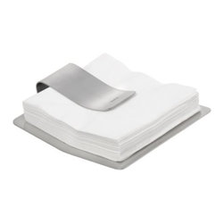 Blomus - SCUDO Napkin Holder by Blomus - Add a spark of modern style to the casual lunch gathering with the Blomus SCUDO Napkin Holder. The stainless steel design holds a stack of paper napkins tightly and sits level and slightly off the surface thanks to 4 short stabilizing legs. While large enough for standard dinner napkins, the SCUDO accommodates smaller cocktail napkins as well. Blomus, headquartered in Germany, specializes in the design and manufacture of beautifully engineered home and office accessories in modern stainless steel styles.