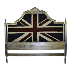 EcoFirstArt - Union Jack Headboard, Queen - Upcycled Headboard with Silver Leaf.