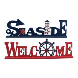 "Nautical Decor - Set of 2 - Wooden Seaside Welcome Nautical Word Art 16"" - Wooden Seaside Welcome Nautical Word Art16"" - Set of 2"