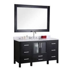 "Design Element - Stanton 60"" Single Sink Vanity Set - The 60"" Stanton vanity features a Carrara white marble countertop, and is fully constructed of quality woods for maximum rigidity and longevity. The clean lines bring a crisp and contemporary look to any bathroom, while the marble countertop gives it a timeless flair. The white Carrara marble countertop, rectangular under-mount sink, and satin nickel-finish hardware creates a striking contrast against the rich espresso cabinetry. For storage, this vanity features seven drawers and a soft-closing double-door cabinet. Included is a large espresso framed mirror."