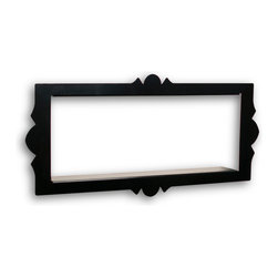 "Danya B. - Scalloped Frame Rectangular Metal Floating Shelf with Shadow Box Effect, Black - Classic & Contemporary meet in this durable ""shadow box"" metal shelf. The raised design adds interest to walls of any color. With its scalloped edges and the floating effect, it  resembles a framed piece of art, rather than a traditional wall shelf.  Constructed of sturdy 1.5mm metal, and powder coated in a smooth finish , this ""floating"" shelf gives any room the flare of geometric design while displaying collectibles, photographs, decorative vases, or even books and music.  Create a gallery wall combining the two sizes and colors available in different configurations.  Available in black and white, square and rectangular.  Screws and simple installation instructions included - keyhole style mounting."